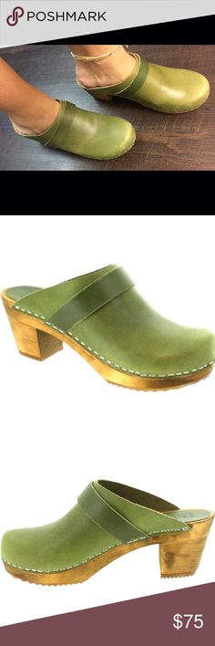 Sanita Wooden Leather Clogs - Fatigue Green Some signs of wear on the leather, just minor scuffs to the leather.  Character to an already rustic style/boho style shoe!  Clogs are in and Sanita is the original maker of them!  Handcrafted, genuine leather, and quality wood.  Enjoy this fabulous find for fall! 🍁🍂🍃 Sanita Shoes Mules & Clogs