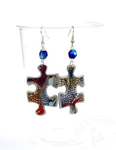 Earring polymer clay puzzle grey silver  blue by Filoecoloridiila, €16.00