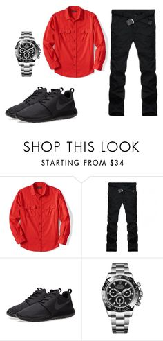 """Business type"" by vibe-with-antionette on Polyvore featuring Lands' End, NIKE, Rolex, men's fashion and menswear"