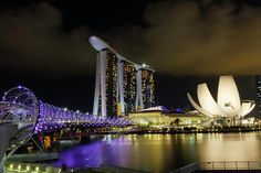 Marina Bay Sands, ArtScience Museum and Helix Bridge Art Print by Rick Deacon. All prints are professionally printed, packaged, and shipped within 3 - 4 business days. George Washington Bridge, Tower Bridge, Marina Bay Sands, Singapore, Modern Art, Fine Art Prints, Museum, Building, Pictures