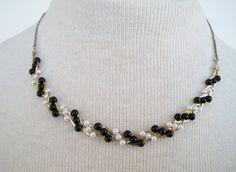 Vintage 70s Retro Hollywood Regency Gold Pearl  Braided Bib Necklace by ThePaisleyUnicorn, $5.00