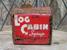 Vintage Towle's Log Cabin Syrup Tin General Foods Corp. 30's, antique tin, rustic decor, farmhouse decor, kitchen decor, collectible tin. $15.00, via Etsy.