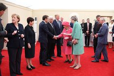 Queen is vibrant in fuchsia as she attends D Day commemorations in Portsmouth with President Trump Portsmouth, Duke And Duchess, Duchess Of Cambridge, Us First Lady, Royal Uk, Hm The Queen, French President, British Royal Families, Emmanuel Macron