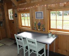The simple furniture and decor inside makes it a quiet getaway for work or arts and crafts for  some very lucky kids.