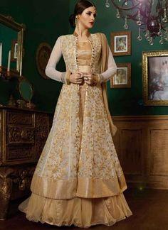 Wonderful White Beige Embroidery Work Net Anarkali Suit http://www.angelnx.com/Salwar-Kameez#/sort=p.date_added/order=DESC/limit=32/page=5