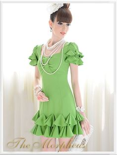 Morpheus Boutique  - Green Bow Ruffle Layer Pleated Pencil Princess Dress(http://www.morpheusboutique.com/products/green-bow-ruffle-layer-pleated-pencil-princess-dress.html)
