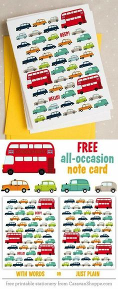Free London Traffic Note Cards ~    Hop across the pond and take a ride with these London Traffic Note Cards. They come in two designs; with word, or plain. Folded size 5.5 x 4.25 in. We suggest using A2 envelopes; our favorites are Poptone.    How to Download @:  http://www.caravanshoppe.com/product/london-traffic-note-cards/