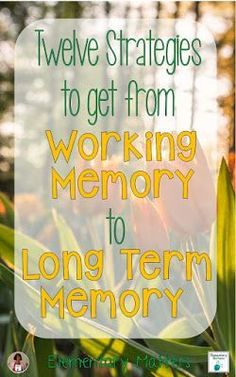 Twelve Strategies to Get from Working Memory to Long Term Memory: things to remember to help that learning stick!  So important if you teach students with special learning needs and other challenges.  Easy and practicial tips you can do in your classroom