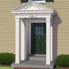 New house front door colonial Ideas - Modern Colonial Front Door, House Front Door, Front Door Overhang, Front Doors, Colonial House Exteriors, Colonial Exterior, Front House Landscaping, Landscaping Ideas, Door Design