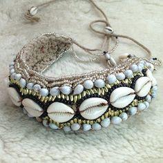 shell and blue bead bracelet