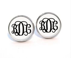 Silver plated Monogram earring post gold plated by MonogramPendant, $6.99