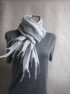 men wool felted  long slim scarf LIGHT GRAY 88' x 6 by manonknits, $72.00