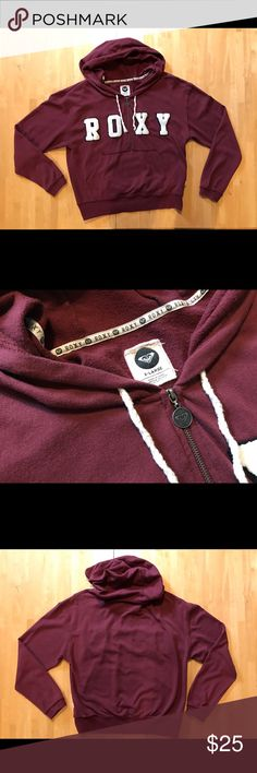 LISTING〰 ROXY Hoddie Burgundy in color, ROXY lettering is in a thick fuzzy type of material. Roxy Tops Sweatshirts & Hoodies