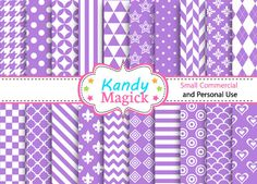 BUY 2 Get 1 FREE 20 Digital Papers. Mixed Patterns by KandyMagick, £1.10