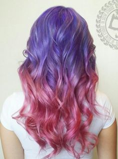 Purple pink ombre dyed hair color