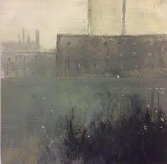 No 22. Grey mills 9 by Tonie Rigby, acrylic and sumi, 15 cm. sq.