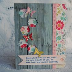 Really a card idea, not scrapbook, but love it for either.  All the things I like -- wood grain and flowers and butterflies
