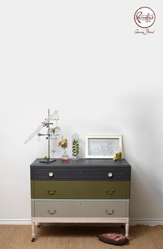 Horizontal stripes of color on small nightstand dresser by Jelena Pticek | Palette of Graphite, Olive, Duck Egg Blue, French Linen and Antoinette Chalk Paint® | Annie Sloan Paint and Colour Blog
