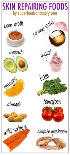 Best Foods For Skin, Foods For Healthy Skin, Healthy Eating, Healthy Recipes, Diet For Skin, Food Good For Skin, Food For Acne, Clean Eating, Healthy Junk