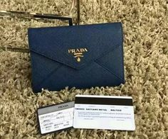Latest Prada Saffiano Letter leather wallet cornflower blue