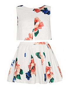 Floral Two Piece Dress - Crop Top Coords Skirt Set - $112