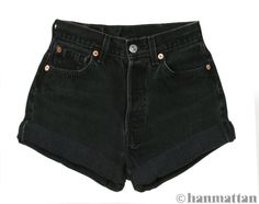"""ALL SIZES """"TURN"""" Vintage Levi high-waisted denim shorts black cuffed rolled turn up jeans. $26.00, via Etsy....NEED!"""