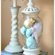 Upscaled   Shabby Chic Coastal Cottage   Ornate Apothecary Jar with Sea Shells