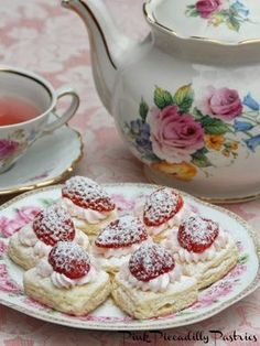 Pink Piccadilly Pastries: Tiny Heart Shortcakes with Strawberries