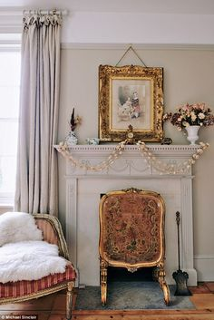 The decorative fireguard in Bronwen's bedroom was found at an antiques market in Ross-on-W...