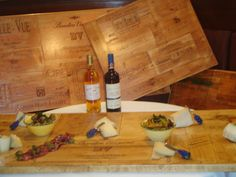 Creme marble base wooden wine crate panel tables