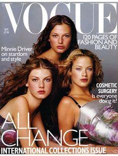 Angela Lindvall, Bridget Hall and Carolyn Murphy By Tom Munro September 1998