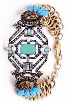Turquoise and Rhinestone Retro Vintage Style Boho Bracelet Fashion