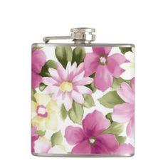 Pink Daisy Flowers Hip Flasks