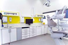 Love the vibrant yellow splashback   Glo Dental   Cockburn Central Western Australia   Ego Squared Design Consultants