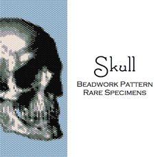 Skull Peyote Stitch Pattern  Cuff Bracelet  Bookmark  PDF