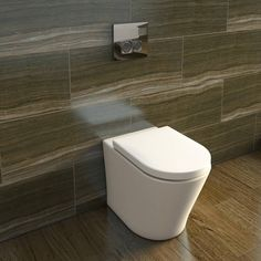 Sale 109 quid - including seat - Arc Back To Wall Toilet including Soft Closing Seat - Victoria Plumb Garage Bathroom, Small Bathroom, Bathrooms, Bathroom Ideas, Wall Hung Toilet, Downstairs Toilet, Back To Wall Toilets, Master Bath Remodel, Plumbing