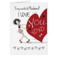 Husband Valentine Quirky Girl pulling Huge Heart Card - girl gifts special unique diy gift idea