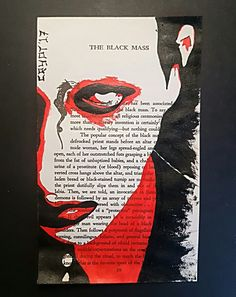 Satanic Bible page painting of Antichrist Superstar era Marilyn Manson. Made using acrylic paints.