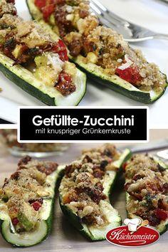 Gefüllte-Zucchini mit knuspriger Grünkernkruste!