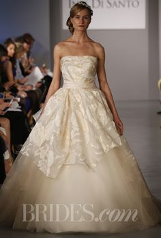 "Brides.com: Ines Di Santo - Spring 2014. ""Vannes"" floral jacquard ball gown with silk tulle underlay and rouched detailing at bust and waist, Ines Di Santo"