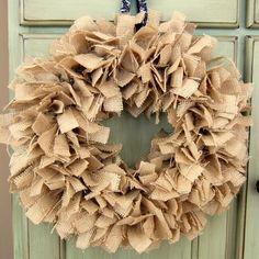 Medium Natural Burlap Fabric Rag Wreath by TheSimpleStandard