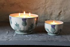 Cream Thistle Candle Bowls give off a gorgeous aroma. To see the full range visit – http://anta.co.uk/made-in-scotland/stoneware/candles #anta #candles