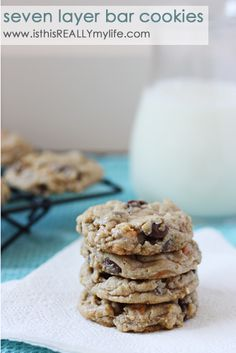Seven layer bar cookies - these take your favorite bar cookie and turn it into a yummy, chewy cookie. To die for! #cookie #barcookie #recipe via isthisreallymylife.com