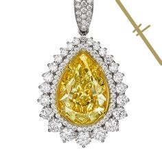 """Art of Jewels on Instagram: """"A carat a day keeps the doctor away! 😉 This 10.08 Fancy Yellow Pear-Shaped Diamond is nestled between two magnificent White halos ✨ Sounds…"""" 4 Diamonds, Pear Shaped Diamond, Halo, Brooch, Fancy, Jewels, Yellow, Instagram, Jewerly"""