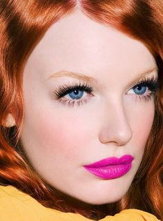 We love redheads in fuchsia lipcolor.- Ive been searching for the perfect pink lip! Perfect example!