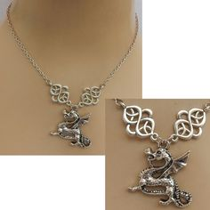 Silver Celtic Dragon Pendant Necklace Jewelry Handmade NEW adjustable fashion #Handmade #Pendant