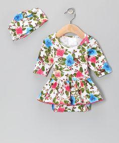 White Bam Bam Floral Organic Skirted Bodysuit & Beanie - Infant