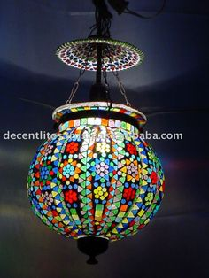 GLASS PUMPKIN MOSAIC LAMP HANGING