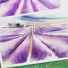 Have a good watercolor Friday, gues!!!! One more my work from plein air in lavender fields. 💜💜💜 #violetpurplelilac_jb  Раньше я рисовала только…