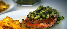 Salmon Burgers with Cucumber Mint Relish served with Curry Roasted Cauliflower
